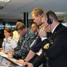 Harbor Protection Table-top Exercise (HPT2E) participants during the gaming exercise. HPT2E focused on protecting military forces, cargo, and critical infrastructure, such as ports and harbors, in high alert situations. NATO photo
