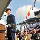 Lt. Cmdr. Craig H. Allen Jr., commanding officer of the Coast Guard Cutter William Flores, a 154-foot Sentinel-class fast response cutter (FRC) homeported at Sector Miami, District 7, speaks to guests during the commissioning ceremony at the Port of Tampa that officially places his cutter into service Nov. 3, 2012. The William Flores marks the third of 58 planned FRCs as the Coast Guard continues to replace its aging fleet. U.S. Coast Guard photo by Petty Officer 2nd Class Michael De Nyse