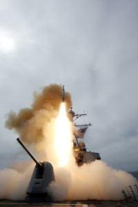 The San Diego-based guided-missile destroyer USS Benfold (DDG 65) fires a missile, March 26, 2009 during training exercise Stellar Daggers in the Pacific Ocean. Benfold engaged multiple targets with Standard Missile-2 (SM-2) Block IIIA and modified SM-2 BLK IV missiles. The overall objective of Stellar Daggers was to test the Aegis system's sea-based ability to simultaneously detect, track, engage and destroy multiple incoming air and ballistic missile threats during terminal or final phase of flight. The Benfold's Aegis Weapons System successfully detected and intercepted a cruise missile target with a SM-2 BLK IIIA, while simultaneously detecting and intercepting an incoming SRBM target with a modified SM-2 BLK IV. This is the first time the fleet had successfully tested the Aegis system's ability to intercept both an SRBM in terminal phase and a low-altitude cruise missile target at the same time. U.S. Navy photo