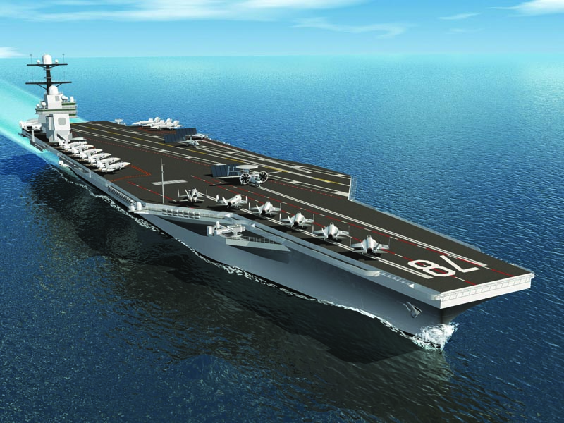 A conceptual rendering of CVN 78, the Gerald R. Ford, the first of a new-generation carrier design for the U.S. Navy. Innovations for the aircraft carrier include an enhanced flight deck with increased sortie rates, improved weapons movement, a redesigned island, a new nuclear power plant, electro-magnetic catapults, and allowance for future technologies and reduced manning. Northrop Grumman photo